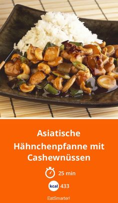 Asian chicken pan with cashew Asiatische Hähnchenpfanne mit Cashewnüssen Asian chicken pan with cashew nuts – smarter – time: 25 min. Meat Recipes, Asian Recipes, Chicken Recipes, Healthy Recipes, Asian Desserts, Recipe Chicken, Drink Recipes, Cashew Chicken, Asian Chicken