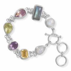 Sterling Silver 7.5 Inch +1 Inch Extension Toggle Bracelet Featuring Moonstone, Labrodorite, Lemon Quartz,Amethyst and Citrine Sterling Silver Collection. $306.32