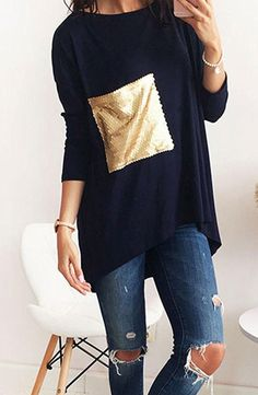 Simple but unique. This tee made from cozy cotton blend fabric with round neckline, long sleeve, sequin design and loose fit design.