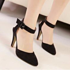 Charming Black Ankle Strap Chunky Casual Heels