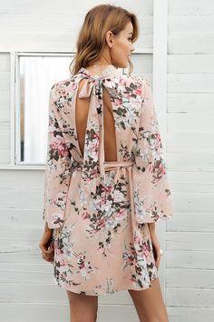 Simplee спинки на шнуровке с цветочным принтом шифоновое платье Женщины Flare рукавом летнее платье Повседневное пляжные короткое платье Femme 2018 купить в магазине Simplee Apparel на AliExpress
