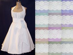 NEW COLORS for your Beach, Country, Vintage, Rustic ... Wedding! Gorgeous White Cotton Dress with Corded Lace Midriff by pinkpurr, $299.00