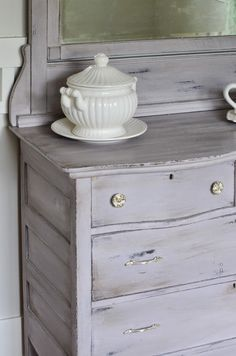 Paloma Chalk Paint® decorative paint by Annie Sloan and both Soft Clear and Dark Wax | Vanity & Dresser | Project by Start at Home Decor