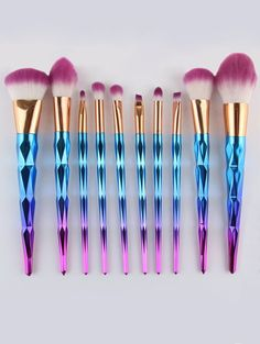 $11.35 Ombre Fiber Makeup Brushes Set - BLUE