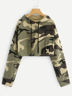 Shop Drop Shoulder Camo Print Hoodie at ROMWE, discover more fashion styles online. Cute Lazy Outfits, Teenage Outfits, Camo Outfits, Crop Top Outfits, Teen Fashion Outfits, Swag Outfits, Mode Outfits, Outfits For Teens, Stylish Outfits