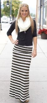 Stripes maxi skirt and lace top #outfitpost | From the Blog ...
