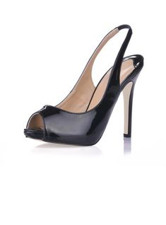 d872338ac399 Women s Sandals Peep Toe Slingbacks Stiletto Heel Patent Leather Pumps