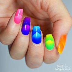 Neon chevron scaled gradient skittle by simplynailogical