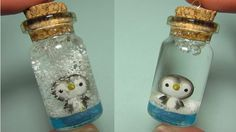 ▶ Penguin Mini Snow Globe: Bottle Charm (Polymer Clay) add pieces of foam and liquid in the bottle. Make a clay penguin. Polymer Clay Charms, Polymer Clay Projects, Polymer Clay Creations, Diy Clay, Polymer Clay Art, Clay Crafts, Bottle Jewelry, Bottle Charms, Clay Jewelry