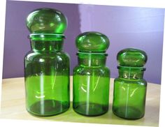 A Set of Three Green Bubble Top Apothecary Jars - Made in Belgium  I have all of these plue 1 more small one too!