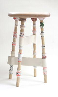 Processed Paper Stool wooden | stool . Hocker . tabouret | Design made in Germany: Pia Wüstenberg |
