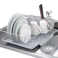 Sweet Home Collection Three-Piece Silver Dish Drainer Set