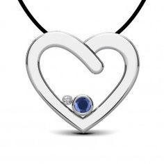 A simple white gold heart is offset by an ocean blue sapphire, and complemented by a diamond. For those who like a simple expression of love.