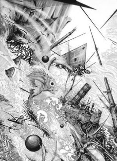 Ian Miller. Descent into the Maelstrom  Based on the story by Edgar Allan Poe. Ink on illustration board dip and technical pen. This is a section from one of four large b/w interlocking panels for a multimedia project involving a filmmaker and weaver. I was asked / commissioned to illustrate Poe's story and I chose to do so in a series of large b/w panels. I had intended doing six of these, perhaps more, to capture the magnitude of the great whirlpool, but for reasons beyond my ken, the…