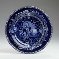 PEACE AND PLENTY,' STAFFORDSHIRE DARK BLUE TRANSFER-PRINTED SOUP PLATE, JAMES & RALPH CLEWS, COBRIDGE, 1819-36.
