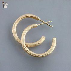 14k Yellow Gold Twig Hoop Botanical Earrings - Wedding earings (*Amazon Partner-Link)