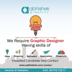 We are looking 4 bright Intern Graphic Designer to join our team in Vadodara. #Hiring #GraphicDesignIntern Visit: http://www.aabhishek.com/career/