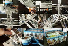 Feito usando papel de jornal ou de publicidade. Muito fácil.