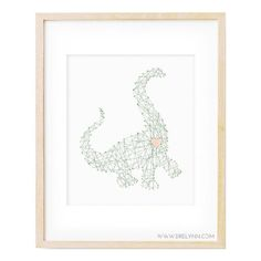 Free printable download of a dinosaur with a big heart, from drelynn.com