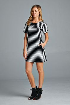 Striped Shift Dress | Ellison | S, M, L $37 — Will order Monday, 6/1 Material: Unlisted  Breton stripe dress is made with very high quality material, has short, faux-cuffed sleeves, and side pockets.