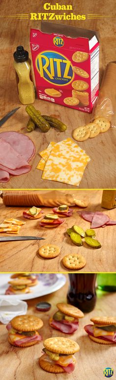 "These RITZ cracker ""Cuban"" Sandwich Bites are our take on the authentic pressed sandwich. Top original RITZ crackers with brown sugar ham, Colby and Monterey Jack cheese, kosher dill pickles, and spicy brown mustard. Cover each with a second cracker and pop in the microwave for 10 seconds. Everyone's favorite sandwich, bite-sized! Life's Rich."
