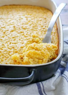 Corn Pudding is a classic side dish that is most beloved in the American south - creamed corn in a sweet and fluffy custard. Corn Pudding Casserole, Corn Pudding Recipes, Corn Recipes, Side Recipes, Vegetable Recipes, Great Recipes, Recipies, Cornbread Casserole, Delicious Recipes