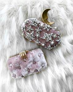 Benedetta Bruzziches blush pink velvet + gold clutches  |  pinterest: @Blancazh Cute Handbags, Purses And Handbags, Couture Accessories, Fashion Accessories, Gold Clutch, Velvet Fashion, Pink Velvet, Beautiful Bags, My Bags