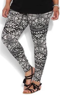 Deb Shops Plus Size Legging with Aztec Print