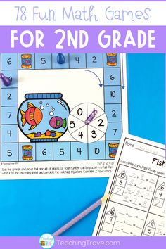 These 78 math games are perfect for 2nd grade distance learning. Consolidate place value, number sense, time, problem solving, number facts and many more math concepts. Easy prep for you, lots of math fun for your kids. All you need is a pencil and paper clip to make a spinner and some game markers!