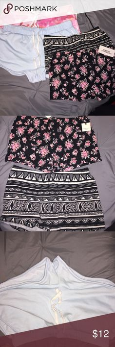 Comfy shorts Pink floral shorts - new with tags attached, Aeropostale size medium.                                Baby blue shorts - forever 21 size medium. Worn once, inside tag is cut out.                         Black & white Aztec pattern bodycon shorts - forever 21 size medium. Perfect condition.            Black & floral pattern bodycon shorts - new with tags attached forever 21 size medium Shorts