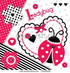 ladybug background invitation card vector illustration