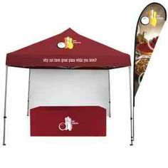 Market Fest Total Show Package. New and Improved! Raise your sail sign high and announce your location at your next festival, fair or event! Featuring our Standard Tent (now available in any of our standard canopy colors), and full wall, tear drop sail sign, and a nylon table cover. Sail sign features high-quality dye-sublimated banner material. Tent pops up in minutes to create a fun and festive atmosphere. Table not included in package.