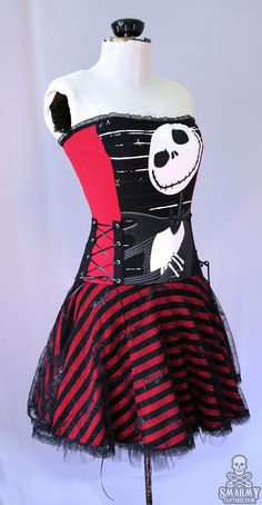custom Nightmare Before Christmas striped corset by smarmyclothes