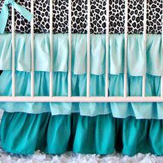 Aqua Leopard Bumperless Crib Bedding