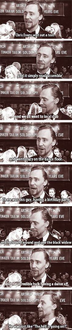 Tom Hiddleston talking about Loki, Captain America, The Black Widow and The Hulk dancing at a club birthday party. Funny!