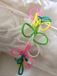 Pastel Butterflies Rainbow Loom Rubber Band Bracelet