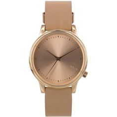 TOPSHOP **Komono Rose Gold Tan Estelle Classic Watch (145 CAD) ❤ liked on Polyvore featuring jewelry, watches, accessories, montres, bracelets, tan, dial watches, topshop, rose gold jewelry and topshop jewelry