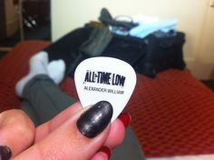 Alex Gaskarth's guitar pick from last night All Time Low concert. Stoked :)
