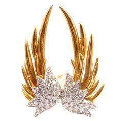 TIFFANY & CO. Jean Schlumberger Gold Diamond 'Flame' Earrings