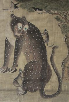 Korean Folk Painting of Spotted Tiger and Cubs, with Magpies