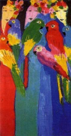 Six parrots - Kunstuitleen Parrots, Painting, Art, Paint, Art Background, Painting Art, Kunst, Parrot, Paintings