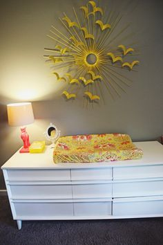 A unique DIYable sunburst mirror.May be with birds or butterflies.need larger mirror Dream Bedroom, Girls Bedroom, Room Inspiration, Design Inspiration, Yellow Birds, Diner Ideas, Purple Mirror, Yellow Interior, Retro Baby