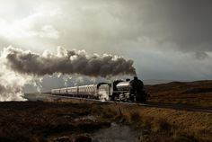 the Peppercorn K1 #62005 chugging over the stark, haunting beauty of Rannoch Moor, Scotland ... by Articdriver, via Flickr