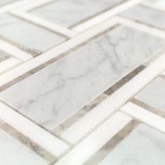 Ivy Hill Tile Mingle Nero White Carrara and Thassos Interlocking 12 in. - The Home Depot Splashback Tile Mingle Nero White Carrara and Thassos Interlocking 12 in. Marble Bathroom Floor, Bathroom Spa, Marble Mosaic, Marble Floor, Bathroom Flooring, Mosaic Tiles, Tile Floor, Bathroom Ideas, Master Bathroom