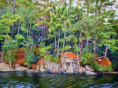 Paddling Close To Shore by Anna Clarey, Acrylic on Canvas, Painting Watercolor Landscape, Landscape Paintings, Watercolor Art, Landscapes, Canadian Painters, Canadian Artists, Acrylic Painting Techniques, Amazing Paintings, Office Art