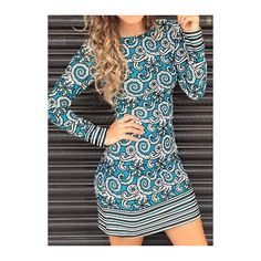 Round Neck Tribal Print Long Sleeve Mini Dress ($23) ❤ liked on Polyvore featuring dresses, blue, black dress, short mini dresses, sheath dress, blue sheath dress and blue mini dress