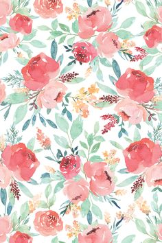 Small Watercolor Floral on White by taylor_bates - Hand painted floral pattern on fabric, wallpaper, and gift wrap. Pink and green watercolor flowers in a painterly style. Add a pop of pattern with unique fabric, wallpaper & gift wrap. Watercolor Wallpaper, Green Watercolor, Flower Wallpaper, Watercolor Flowers, Wallpaper Backgrounds, Iphone Wallpaper, Fabric Wallpaper, Bedroom Wallpaper, Wallpaper Ideas