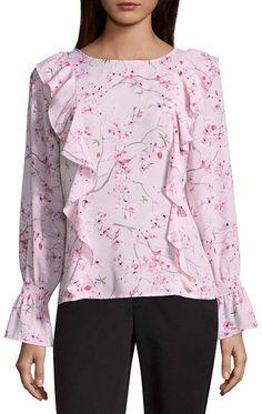 Liz Claiborne Smocked Sleeve Ruffle Floral Blouse Floral Blouse, Floral Tops, Ruffle Blouse, Liz Claiborne, Smocking, Bell Sleeve Top, Tunic Tops, Sleeves, Pink