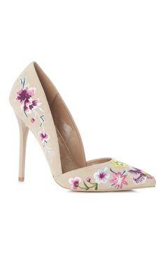 Primark - Sapatos de salto floral cor de pêssego
