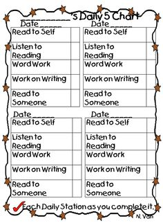 Daily Five Student chart literacy-writing-word-work-grammar-phonics Daily 5 Stations, Daily 5 Centers, Literacy Stations, Literacy Centers, Daily 5 Reading, Teaching Reading, Guided Reading, Teaching Ideas, Reading Binder